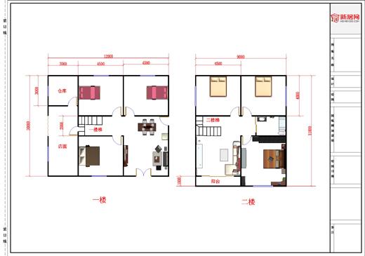 2层房屋平面图1层包括店面-房屋设计图-中国图纸交易